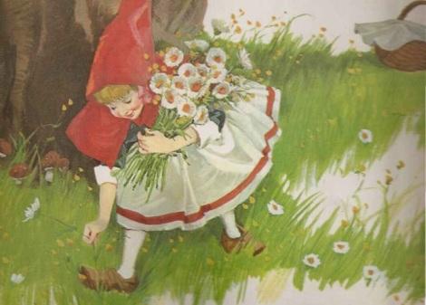 Chapeuzinho e a cesta de doces no bosque