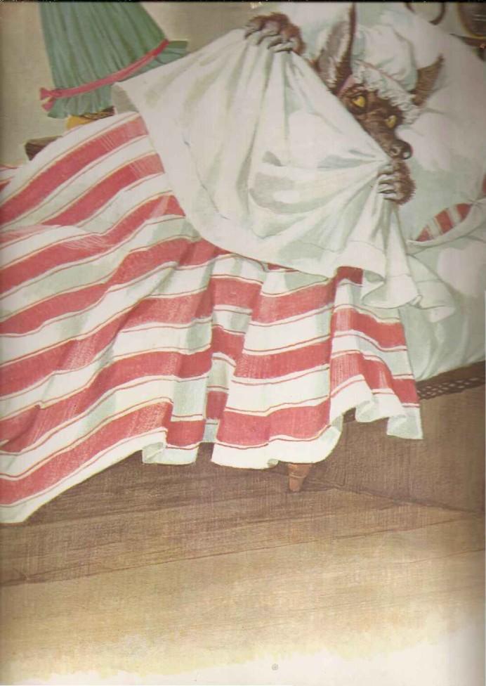 Lobo Mau se esconde na cama da vovó