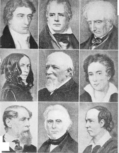 esquerda para a direita: John Keats, Sir Walter Scott, William Wordsworth, Elizabeth rret Browning, Bobert Browning, Percy Bysshe Shelley, Charles Dickens, Lorde Macaulay,