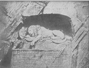 O Leão do Lucerna, esculpido por Thorwnlden numa rocha. Monumento executado em 1821 cm memória dos oficiais e soldados da Guarda Suíça que caíram na defesa das Tulhcrias em 10 de agosto de 1792.