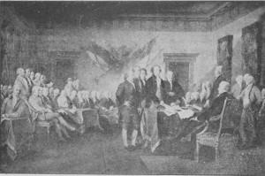 A assinatura da Declaração de Independência. (Pintura de John Trumbul).
