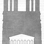 dimensões relativas da fachada do parténon e da de nossa senhora de paris