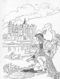 As princesas tiraram a roupa, transformaram-se em patas e correram para o lago.