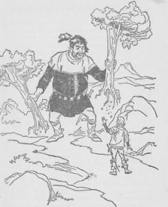 Encontrou um homem que arrancava árvores do chão como se fossem raminhos de erva.