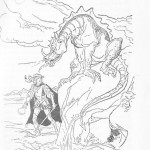Quando chegou à fonte, o príncipe verificou que o monstro estava com os olhos abertos.