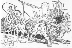 A admiração foi geral quando o rapaz entrou na cidade com o carro puxado por seis leões.