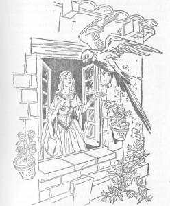 A moça abriu a janela, e a ave entrou no seu quarto.