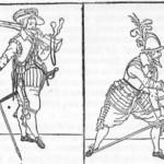 """Mosqueteiro e lansquenete. De uma crônica """"sobre o uso das armas"""", do Príncipe Maurício de Orange, impresso em 1689 cm Franciorle. Desenho de Jacob de Ghen."""