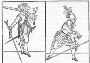 """Mosqueteiro e lansquenete. De uma crônica """"sobre o uso das armas"""", do Príncipe Maurício de Orange, impresso em 1689 em Franciorle. Desenho de Jacob de Ghen."""