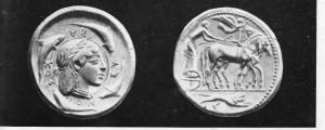 Moedas gregas de Siracusa.