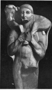 Jovem carregando um bezerro ao altar de sacrifícios. Escultura grega do séc. IV a. C. Museu da Acrópole, Atenas.