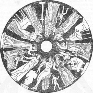 """""""Lacedemônia, cidade das mulheres formosas"""". Odisséia, canto XIII. Pintura de uma píxide."""