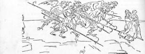 Dante e Vergílio perseguidos por demônios no inferno. Desenho de Boticelli.