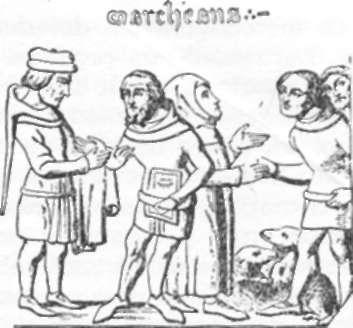 """Artesãos e feirantes, cópia de miniatura de """"Bibliotèque de Bourgonge"""", editada em Bruxelas. Séc. XIV."""
