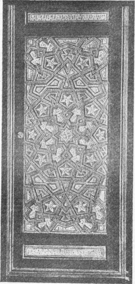 Fig. 291 — Antiga almofada de madeira: com incrustações de marfim numa pcrta do Cairo (coleção Schefer); segundo fotografia do autor.