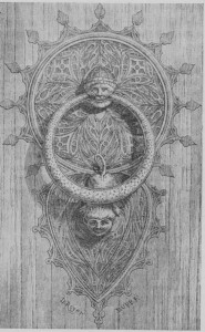 Fig. 358 — Aldrava do portai da catedral de Tarragona; estilo hispano-arabe.