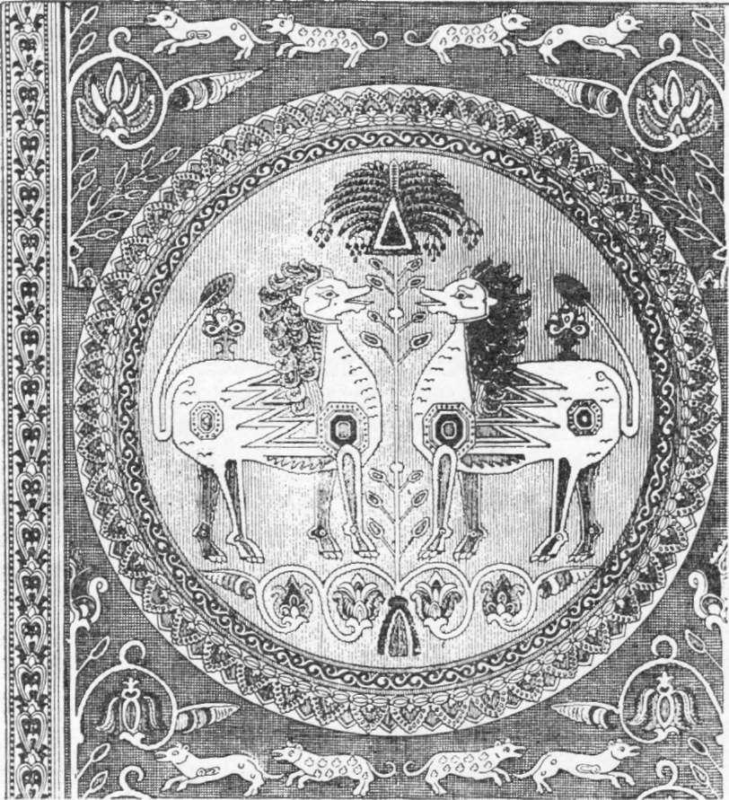fragmento de um antigo estofo árabe, segundo desenho de Prisse d'Avesnes.