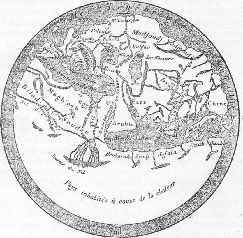 Fig. 234 — Mapa árabe áe Eãrisi (1160), segundo V. de Saint-Martin.