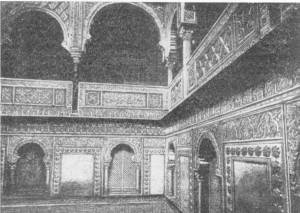 Fig. 315 — Galeria superior de um dos pátios do alcáçar de Sevilha, segundo uma fotografia de Laurent.