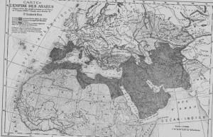 Mapa dos impérios árabes