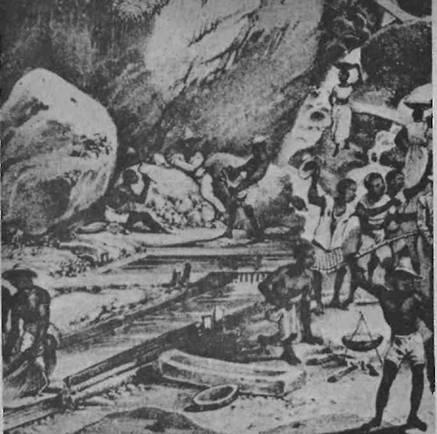 Lavagem de ouro em Itacolumi, quadro de Rugendas