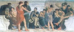 Escola de Aristóteles, quadro dos 1880s por  Gustav Adolph Spangenberg