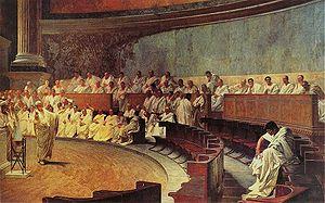 Cicero acusando Catilina no senado (Afresco de Cesare Maccari, século XIX)
