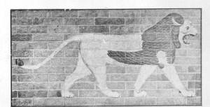 O Antigo Leão da Babilônia  Nos tampos do Nabucodonosor, que reinou em G0Í3-5G2 A. C, este leão fazia parte da decoração da estrada sagrada da cidade de Babilônia.