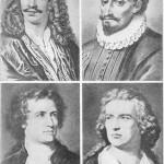 """Midier«, dramaturgo francês; Cervantes, autor de """"Don Quixote""""; Goethe e Schiller,"""