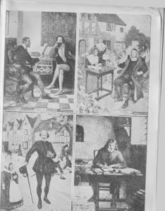 """QUATRO GRANDES ESCRITORES INGLESES. Chaucer, autor dos """"Contcrbury Tales""""; Spenser, que escreveu """"The Faèrie Queene""""; Bacon, o filósofo e estadista; e Shakespeare, o maior de todos em gênio."""