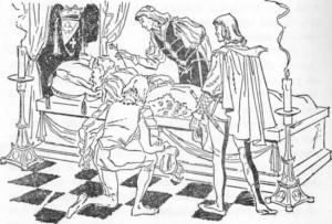 O príncipe mais moço aproximou seu cravo mágico do nariz da morta.