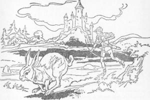 Depois de muito correr pela floresta, o príncipe viu a lebre parar e bater com o focinho no chão.
