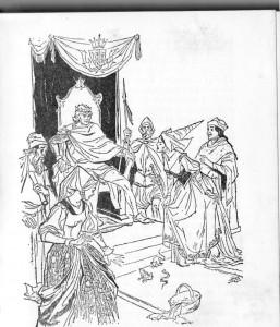 Em lugar dos príncipes, levaram ao rei um sapo, uma cobra e um rato.