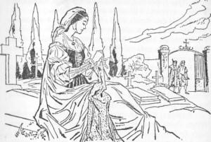 Dias depois, tendo faltado, de novo, a urtiga, Lúcia tornou a ir ao cemitério.