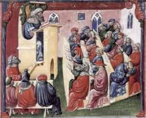 Representation of a university class in the 1350s (wiki)