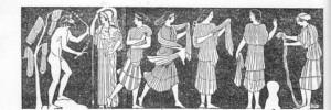 Odisseu e Nausícaa. Odisseia, canto VI. Pintura de um vaso. Séc. V a. C.