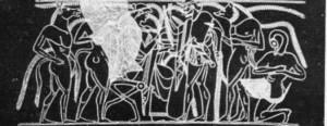 À direita, Hefesto, deus do fogo e do metal. Estátua ática em bronze, séc. V a. C.