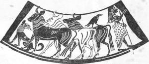 Paris como pastor nas monfanhas de Ida. Pinfura de um vaso, 525 d. C.