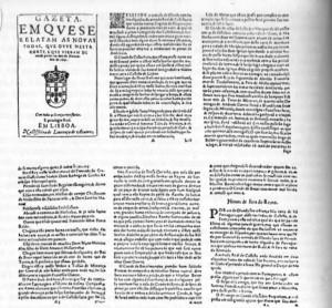 Fac-símle do primeiro jornal publicado em Portugal, 1641.