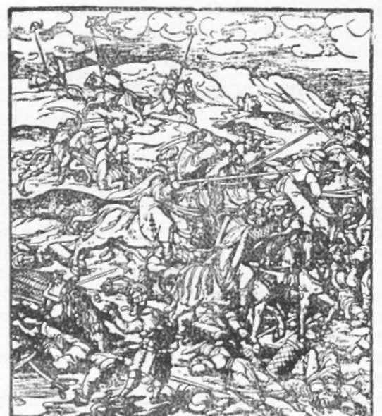 """Batalha contra os turcos. Xilogravura do volume """"Weisskunig"""". Séc. XVI."""