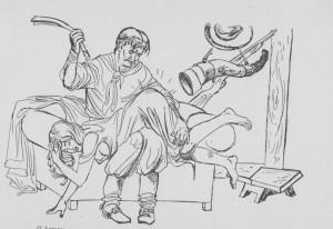mulher curiosa sentada no colo