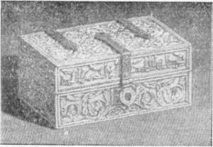 Fig. 298 — Cofre de marfim esculpido do século XII (Museu de Kensington), segundo uma fotografia de C. Relvas.