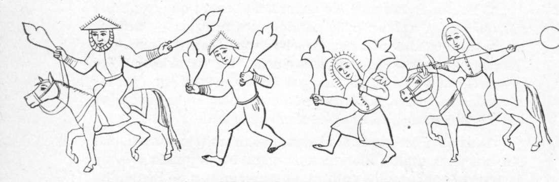 Fig. 235 e 236 — Cavaleiros árabes lançam o fogo grego, segundo um manuscrito da Biblioteca Nacional de Paris.