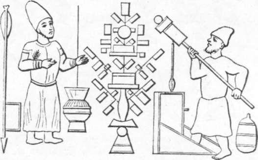 Fig. 238 — Armas de fogo empregadas pelos árabes no século XIII. Artilheiro segurando um pequeno canhão, que aproxima de uma chama para inflamar a carga e disparar a bala. (Mesma fonte da gravura anterior.)