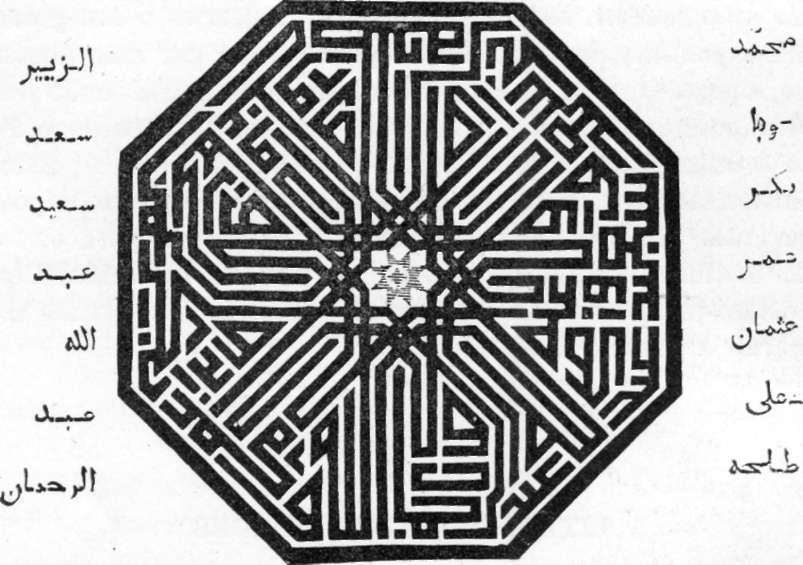 Fig. 219 — Inscrição ornamental' formada pela combinação de caracteres cúficos.