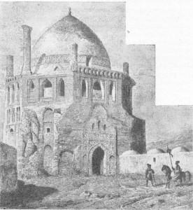 Fig. 318 — Mesquita e túmulo de Shah-Koda, em Sultanieh, Pérsia, do século XVI; desenho de Texier.