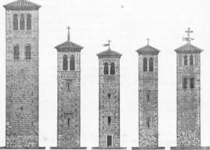 Fig. 303 a 307 — Torres de diversas igrejas de Toledo, copiadas de antigos  minaretes árabes.
