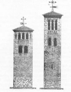 Fig. 308 e 309 — Torres de igrejas de Toledo, copiadas de antigos minaretes.