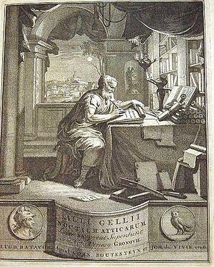 Frontispício de uma edição  de Auli Gellii Noctium Atticarum libri XX de 1706 (Noites Áticas de Aulo Gélio, vol. XX)